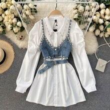 Blusa de dos piezas con cuentas apilables y solapa para Primavera, camisa femenina de dos piezas a la moda, 2021
