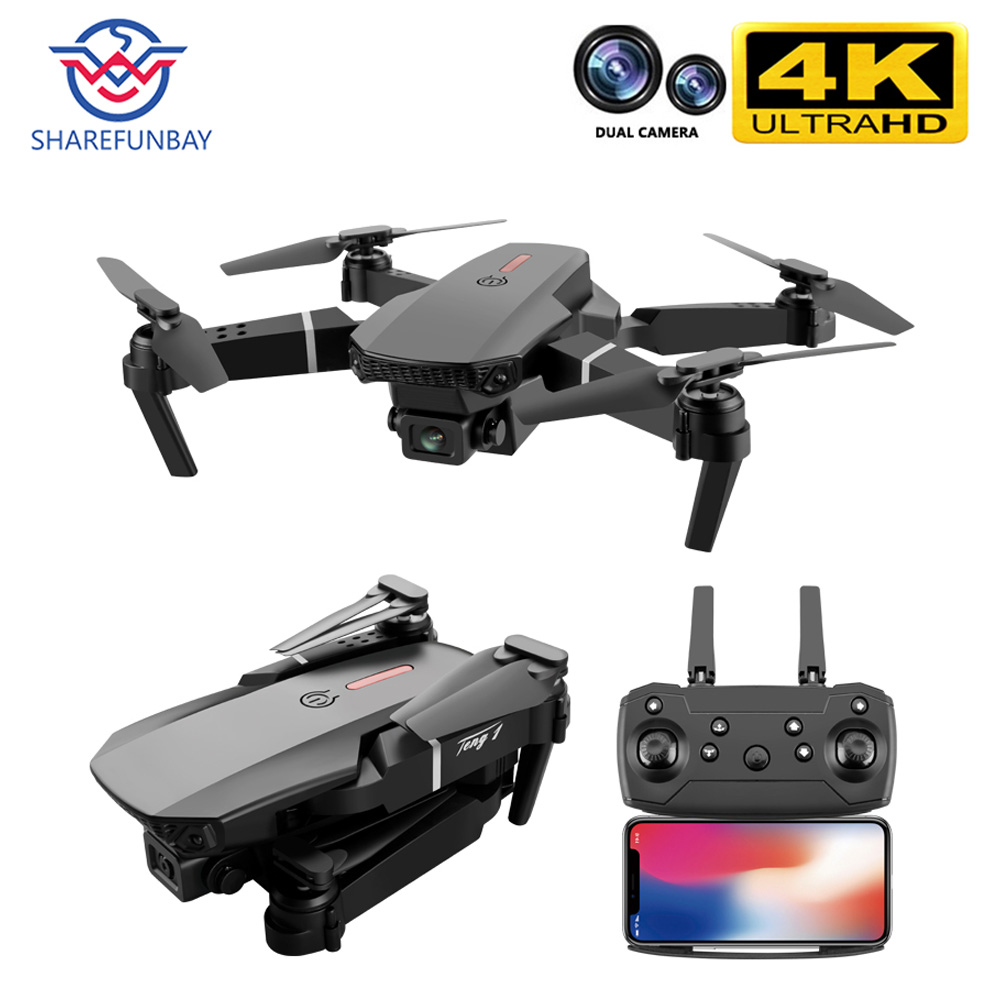 SHAREFUNBAY E88 pro drone 4k Cámara dual de HD visual posicionamiento 1080P WiFi fpv drone altura preservación rc quadcopter