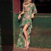 2020 Summer Vintage Female Green Print Irregular Dress Women Long Sleeve Chiffon Bobo Asymmetric Dress Sexy Bohemian Beach Dress