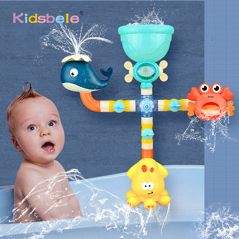 Baby Bath Toys Water Game Giraffe Crab Model Faucet Shower Water Spray Toy For Kids Swimming Bathroom Summer Toys