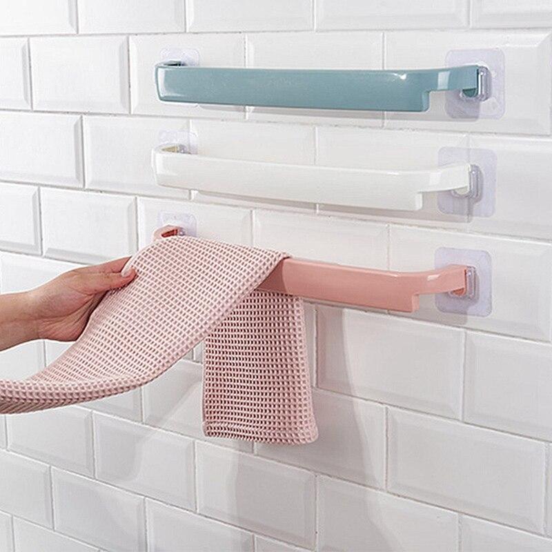 Towel Holder Rack 44.5*3.5cm Wall Mounted Towel Hanger Bathroom Storage Cupboard Door Bath Hanger Bathroom Kitchen Accessories