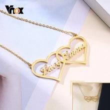 Vnox пользовательские табличка Двойное сердце ожерелье для женщин