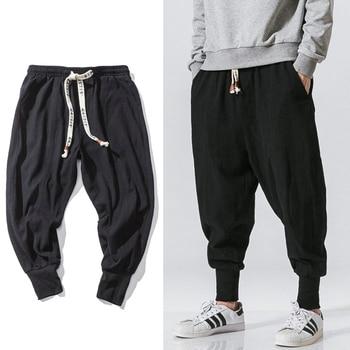 Chinese Style Harem Pants Men Streetwear Casual Joggers Mens Pants Cotton Linen Sweatpants Ankle-length Men Trousers M-5XL 1