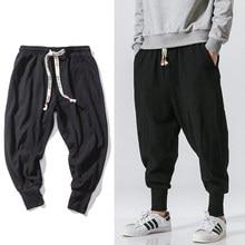 Pantalon sarouel Style chinois pour homme, Streetwear, jogging, en coton et lin, survêtement, longueur cheville