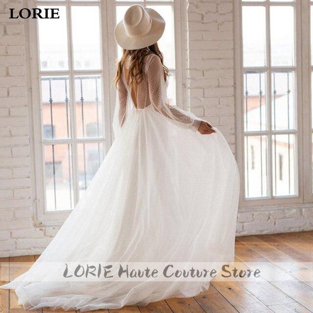 LORIE A-line Beach Wedding Dress Puff Sleeve Sweep Dot Tulle Bridal Dress Custom Made Princess Wedding Gowns Boho Plus Size 2
