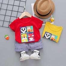 2021 moda niemowlę zestawy ubrań dla niemowląt bawełna dzieci chłopcy dziewczyny lato na co dzień z krótkim rękawem Top + spodenki 2 sztuk zestaw ubrań dla dzieci tanie tanio CN (pochodzenie) O-neck Swetry SS00202 COTTON Unisex REGULAR Pasuje prawda na wymiar weź swój normalny rozmiar Cartoon