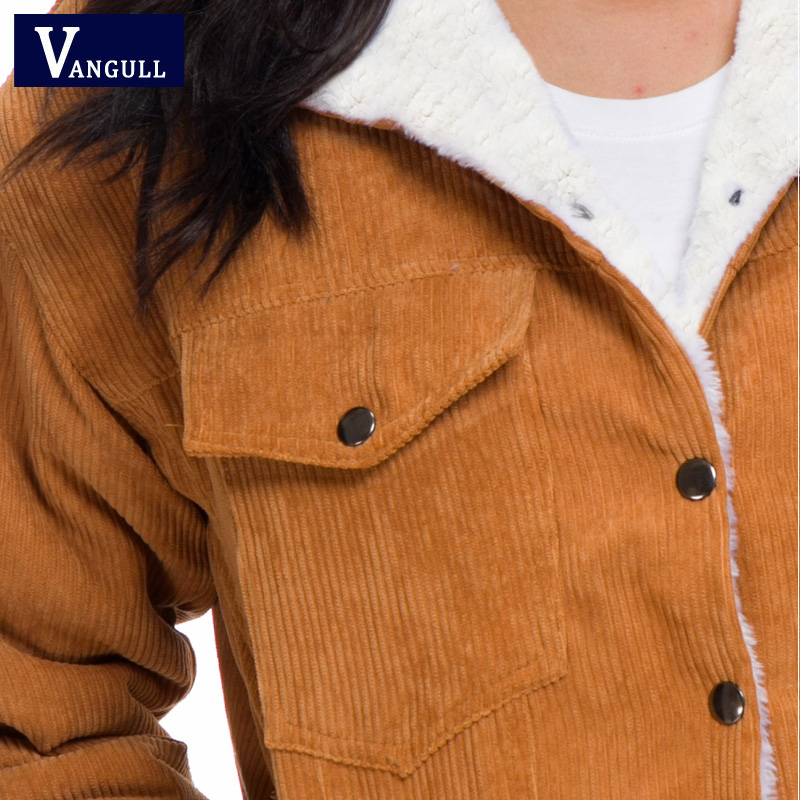 Hb7ae70f6b8d34aea8d925588cb9b821fR VANGULL Women Winter Jacket Thick Fur Lined Coats Parkas Fashion Faux Fur Lining Corduroy Bomber Jackets Cute Outwear 2019 New