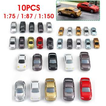 10pcs Painted Model Cars Building Train Layout Scale HO 1:75/1:87/1:150 Mixed Color Car Architectural Toys Miniature Model Kits image