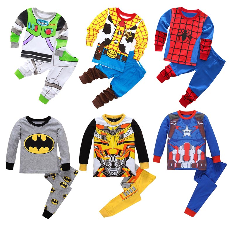 Child Boys Girls Cowboy Woody Transformers Costume Homewear Kid Cosplay Buzz Lightyear Batman Iron Man Pajamas Spiderman Clothes