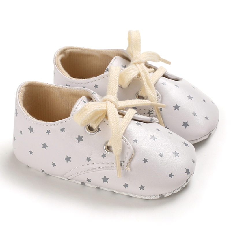 Newborn Baby Shoes Crib Shoes Print Small Stars With T-tied Aiti-Silp Shoes Toddler Soft Bottom First Walkers Shoes 2