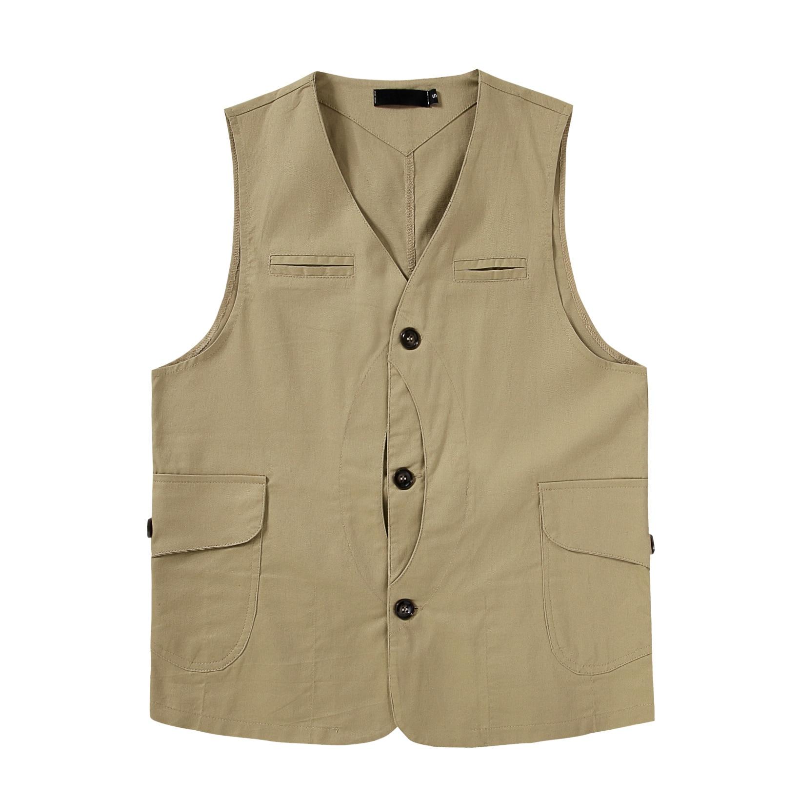 2020 Brand Men Casual Loose Vintage Vest Japan Amekaji Fashion Pocket Sleeveless Cargo Jacket Tops Waistcoat S-XXL