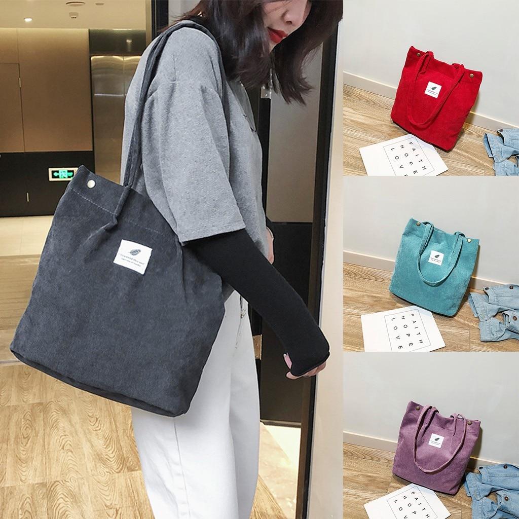 High Capacity Women Corduroy Tote Ladies Casual Solid Color Shoulder Bag Foldable Reusable Women Shopping Beach Bag