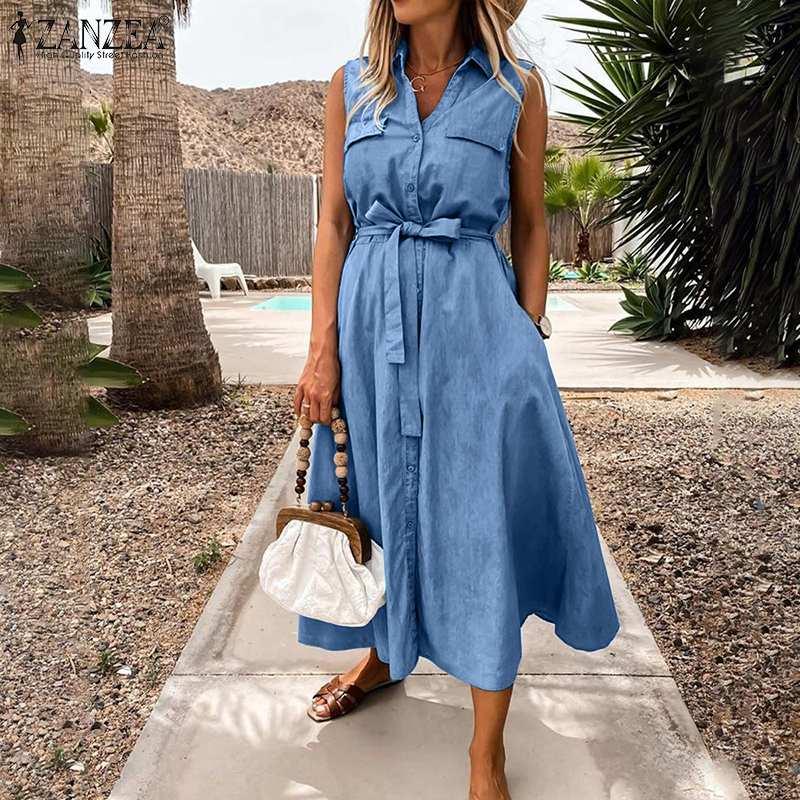 5XL Denim Blue Dresses For Women 2021 Ladies Midi Vestidos ZANZEA Casual Sleeveless Sundress Summer Belted Beach Robe Plus Size