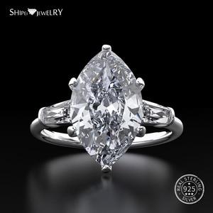 Image 2 - Shipei Anillo de plata de primera ley y zafiro Natural para mujer, sortija, plata esterlina 100%, GEMA, citrino, compromiso, boda
