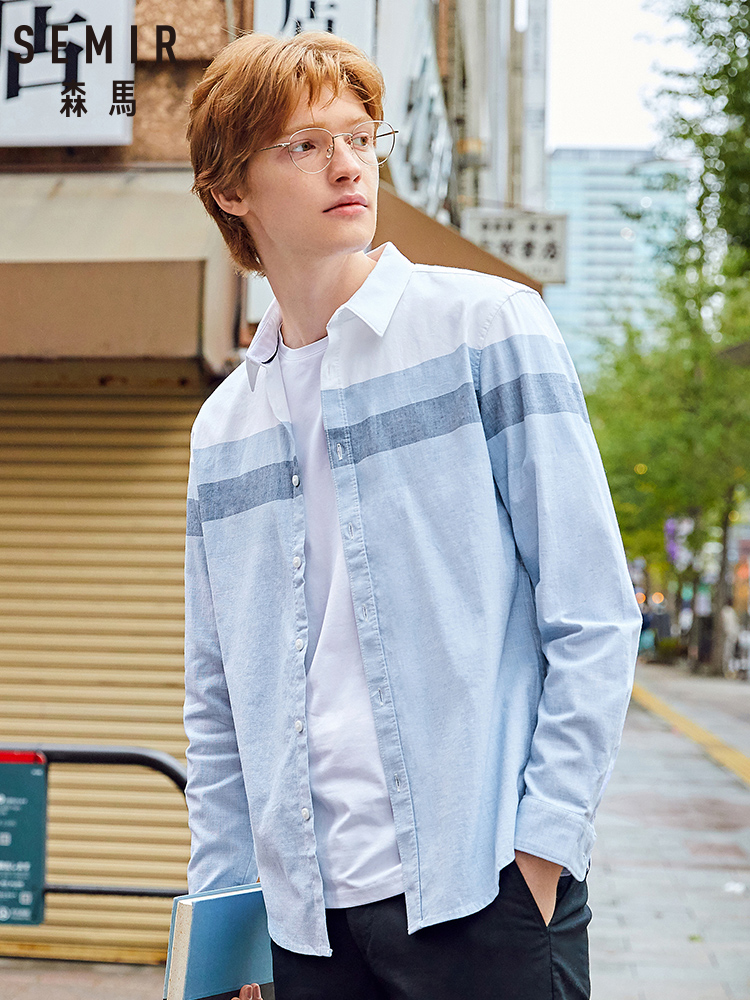 SEMIR Long Sleeve Shirts Men 2020 Spring Fashion Trend Hit Color Stitching Casual Japanese Shirt Men Casual