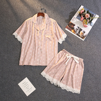 Summer New Pajamas Women's Ice Silk Thin Sexy Lace Short-sleeved Shorts Suit Pyjamas - discount item  40% OFF Women's Sleep & Lounge