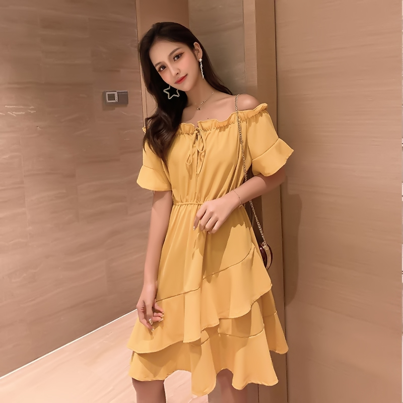 #1008 Red Yellow Summer Beach Sundresses Short Sleeves Slash Neck Sexy High Waisted Ladies Dresses Knee-length Spliced Ruffles