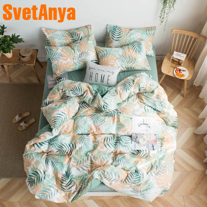 Svetanya Cotton Sheet Pillowcase Duvet Cover Bedding Sets Print Bed Linens