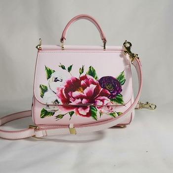 Luxury tote bag shoulder bag women's print seaside holiday famous brand messenger bag handbag women bag designer pink flowers