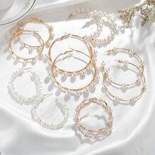Прямая поставка большой круг белый жемчуг серьги кольца набор