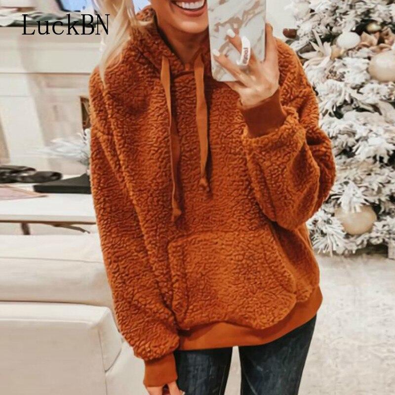 Hoodie Pullovers Faux Fur Fluffy Teddy Casual Drawstring Preppy Sweatshirt Women Autumn Winter Hoodies Minimalist Sweatshirts in Hoodies amp Sweatshirts from Women 39 s Clothing