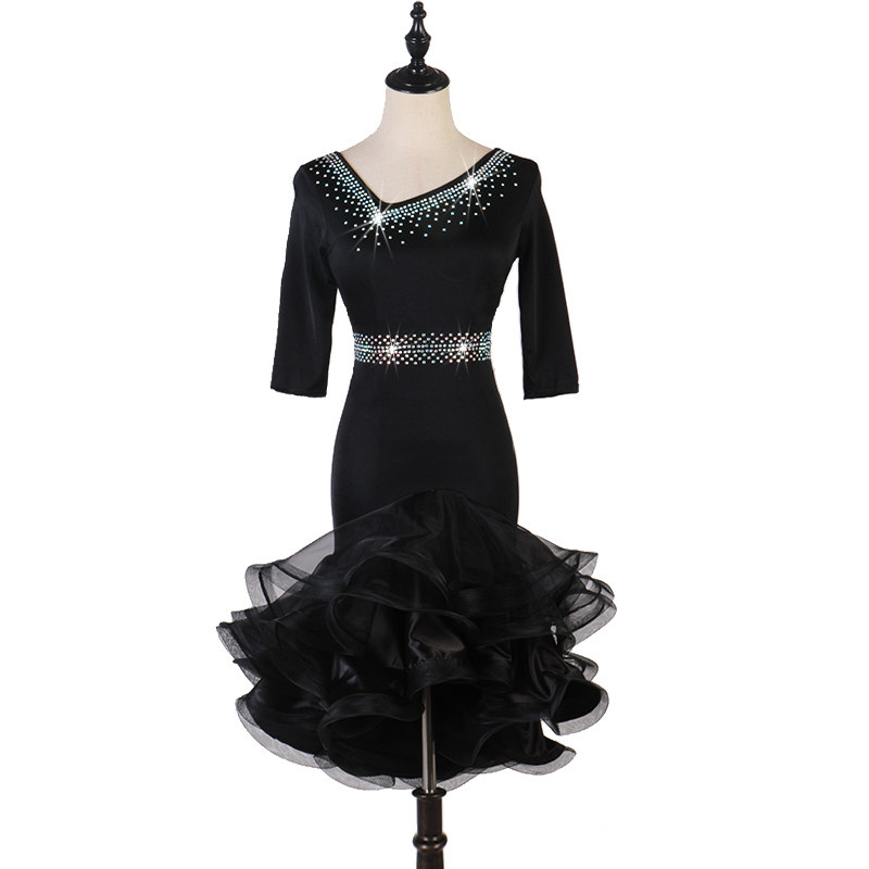 Black Latin Dance Dress For Women Tango Salsa Rumba Performance Clothing Cha Cha Samba Competition Dresses Customized DC3358