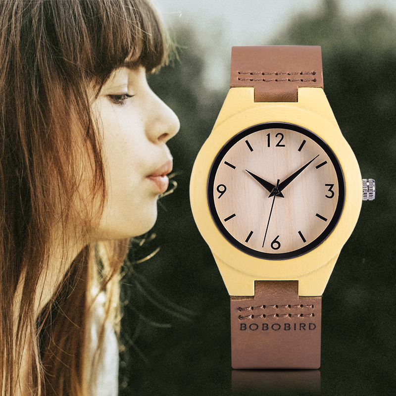 Relogio Feminino BOBO BIRD Wooden Women's Watch Quartz Wristwatch Leather Strap Ladies Customized Gift For Girlfriends Daughter