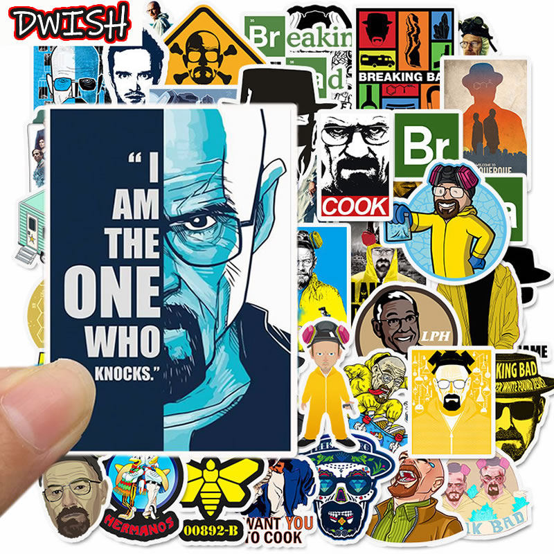 50pcs/Pack Breaking Bad Waterproof PVC Children Stickers Skateboard Guitar Suitcase Freezer Graffiti Sticker Kids Classic Toy
