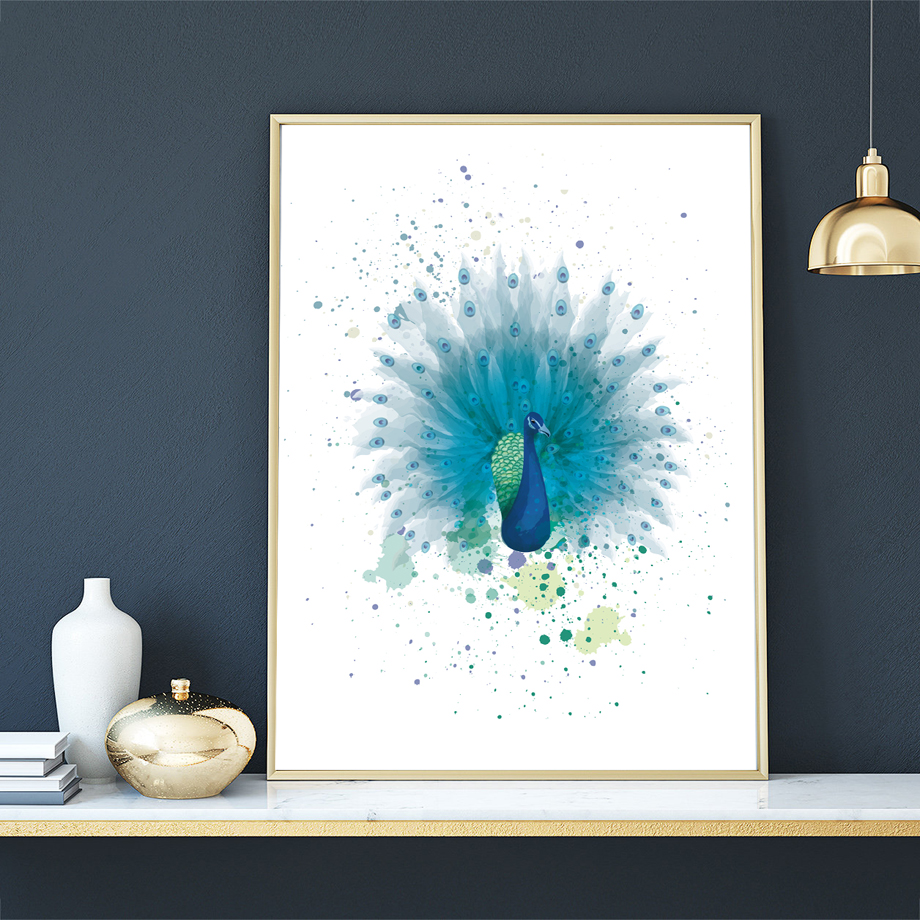 Watercolor Peacock Animal Print Nursery Wall Art Print Canvas Painting Nordic Posters And Prints Wall Pictures For Living Room in Painting Calligraphy from Home Garden