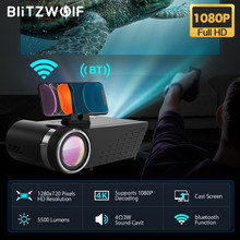 Blitzwolf BW-VP8 wi fi projetor 5500lumens lcd led elenco tela buetooth fone de ouvido som sem fio telefone mesma tela cheia hd 1080p