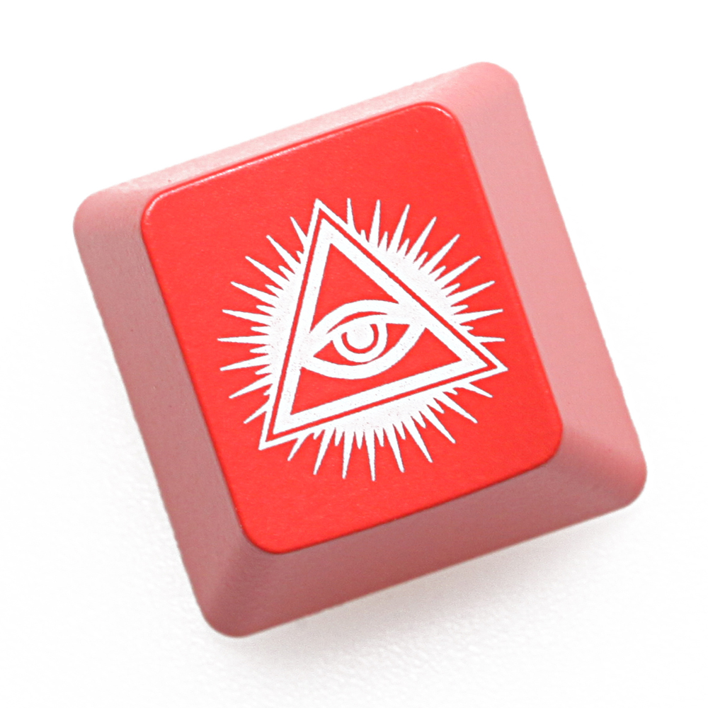 Novelty Shine Through Keycaps ABS Etched Back Lit Black Red Esc Eye Of Providence All Seeing Eye God