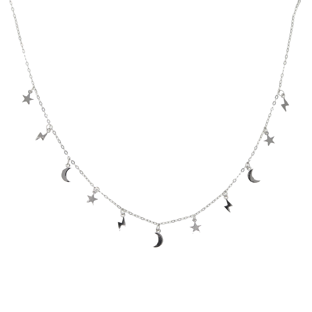 100% 925 Sterling Silver minmal tiny shiny moon star lightning charms pendant necklaces lovely cute girl women necklace Jewelry