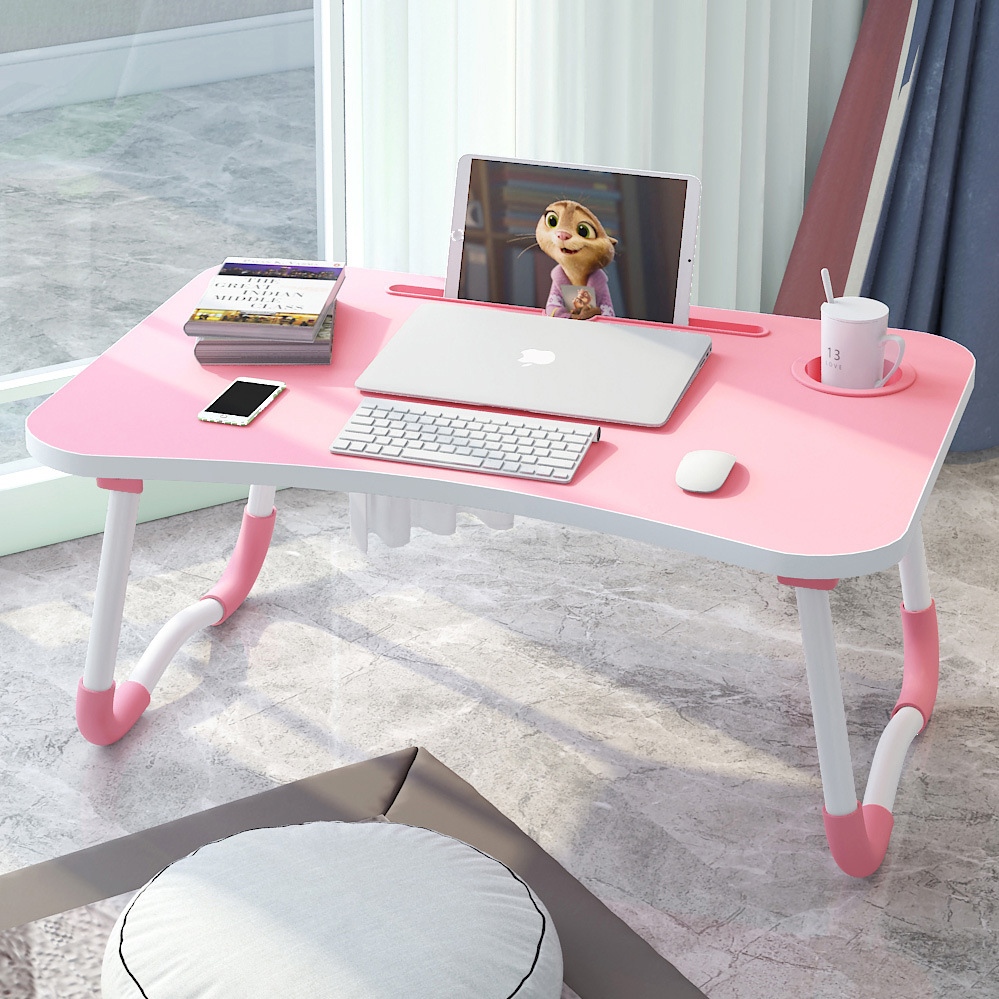 With Cup Saucer Computer Desk Bed Item Foldable Laptop College Student Dormitory Lazy Learning Card Slot Small Table