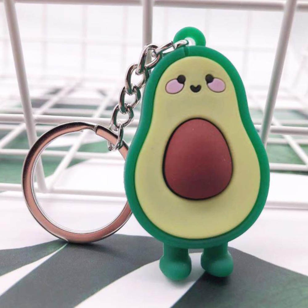 3D Soft Rubber Avocado Keychain Couples Key Chain Ring for Women Bag Girl Phone Car Keyring Lovers Jewelry Gifts(China)