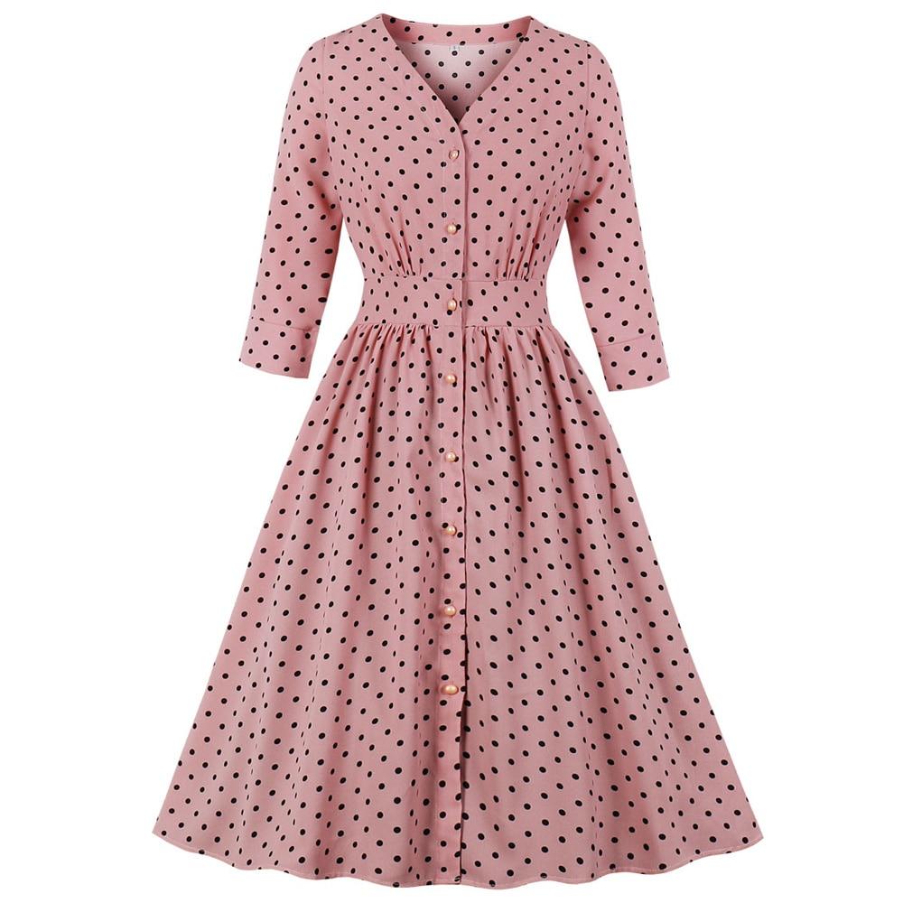 Polka Dot Women Vintage Dress V-Neck 3/4 Sleeve Button Fly Femme Party Robe Swing Pin Up Feminino Spring Retro Vestidos