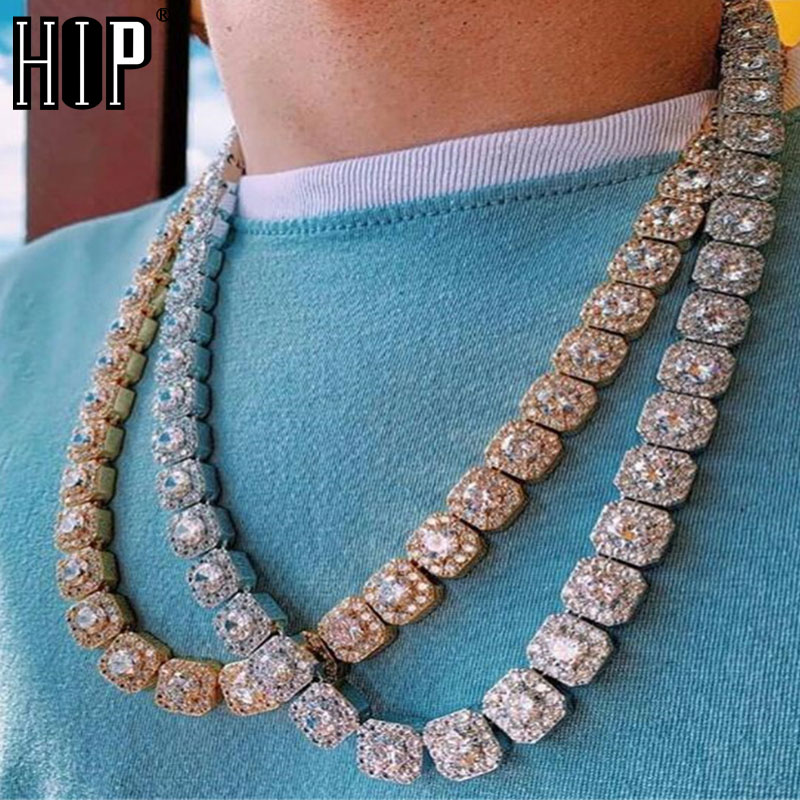 Hip Hop 10MM Bling glacé chaîne de Tennis treillis carré AAA CZ pierre or argent Zircon cubique Chokers colliers pour hommes bijoux