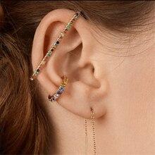 Earring Cuff Earclips Ear-Wrap Crystal Rhinestone Long-Clip-Hang Gold Women 2pcs CZ