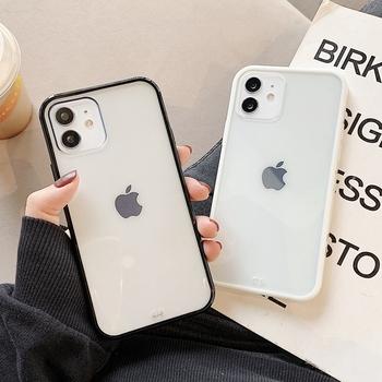 Miękki kwadrat przezroczysty cukierki etui na telefony dla iPhone 11 12 mini Pro Max XS X XR Max 7 8 Plus SE 2020 silikonowe skrzynki pokrywa tanie i dobre opinie APPLE CN (pochodzenie) Bumper przezroczyste
