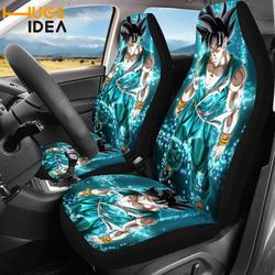 HUGSIDEA Goku Dragon Ball Printed  2pcs Car Seat Covers Vehicle Decor Accessories Anime Universal Cars SUV Protector Seat Cover