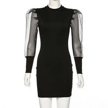 CNYISHE Sexy Elegant Black Sheer Mesh Long Sleeve Dress Casual Slim Fit Pencil Dress Women Puff Sleeve Patchwork Dresses Vestido
