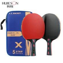 Huieson 2 Stks Opgewaardeerd 5 Star Carbon Tafeltennis Racket Set Lichtgewicht Krachtige Pingpongpeddel Bat met Goede Controle