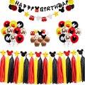 Микки Мышь День Рождения украшения набор «С Днем Рождения» баннер вдохновил торт Топпер для детей пользу Флаг украшения подарки