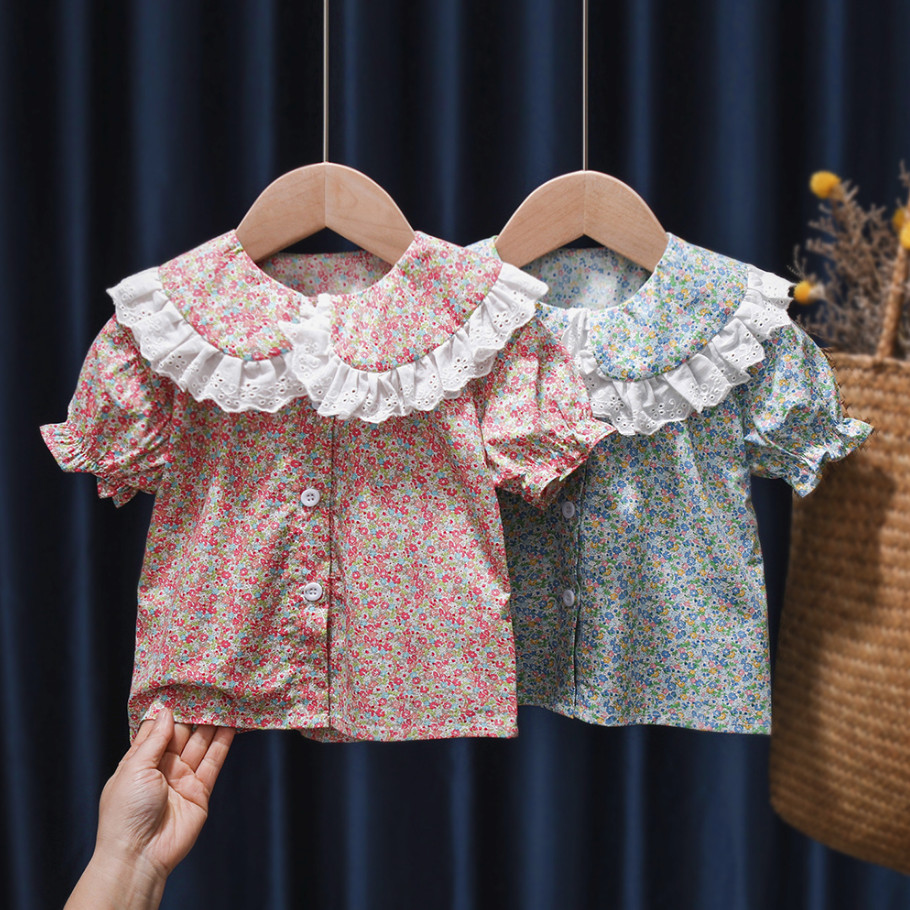 Toddler Kids Shirt Tops For Summer Baby Girl Doll Collar Floral Blouse Children Girls Clothes Cute Flower Infant Shirts Outwear