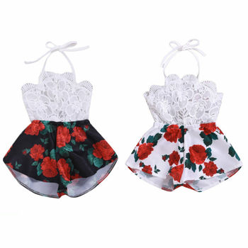 Pudcoco Newborn Baby Girl Clothes Sleeveless Lace Strap Romper Jumpsuit One-Piece Sunsuits Summer Outfit Clothes emmababy summer newborn baby girl clothes sleeveless striped bowknot strap romper jumpsuit one piece outfit sunsuit clothes