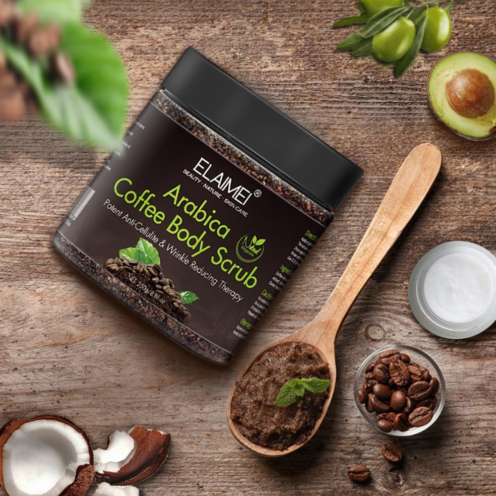 250g Arabica Coffee Body Scrub Natural Coconut Oil Body Scrub Exfoliating Whitening Moisture Reducing Cellulite DROP SHIPPING