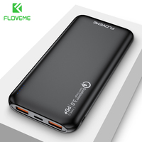 Floveme carregador rápido 3.0 power bank 10000 mah carregamento portátil 3 entrada powerbank usb carregador de bateria externa para xiao mi 9 8