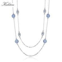 KALETINE 925 Sterling Silver naszyjnik kobiety okrągły wisiorek Evil Eye naszyjniki niebieskie z cyrkonią długi Link Chain turcja biżuteria 2020