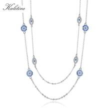 KALETINE collana in argento Sterling 925 ciondolo tondo da donna collane con occhio diabolico zircone blu catena a maglie lunghe gioielli in turchia 2020