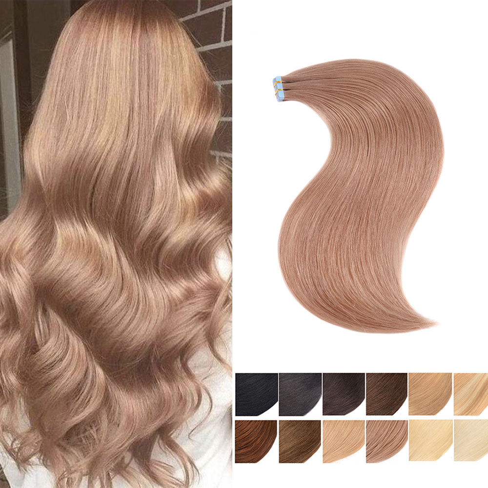 Remy Straight Human Hair Tape Extensions Samples Perfessional Salon Invisible Skin Weft Extension Tape Ins 18inch 50g 20pcs