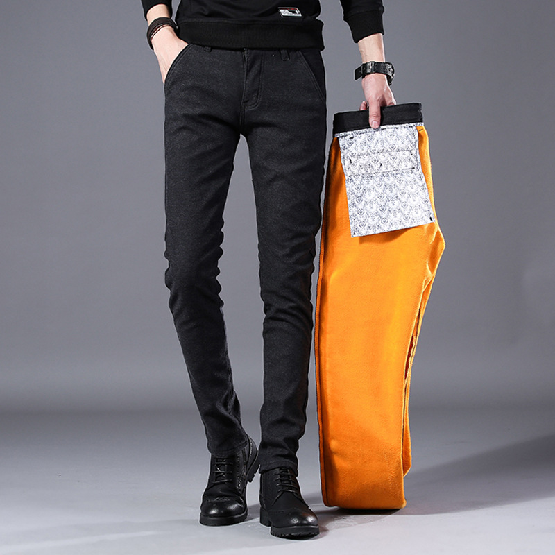 Fashion Men's Casual Pants Winter Straight Men Skinny Thick Trousers Solid Fleece Warm Pants Slim Pencil Pants Pantalon Homme